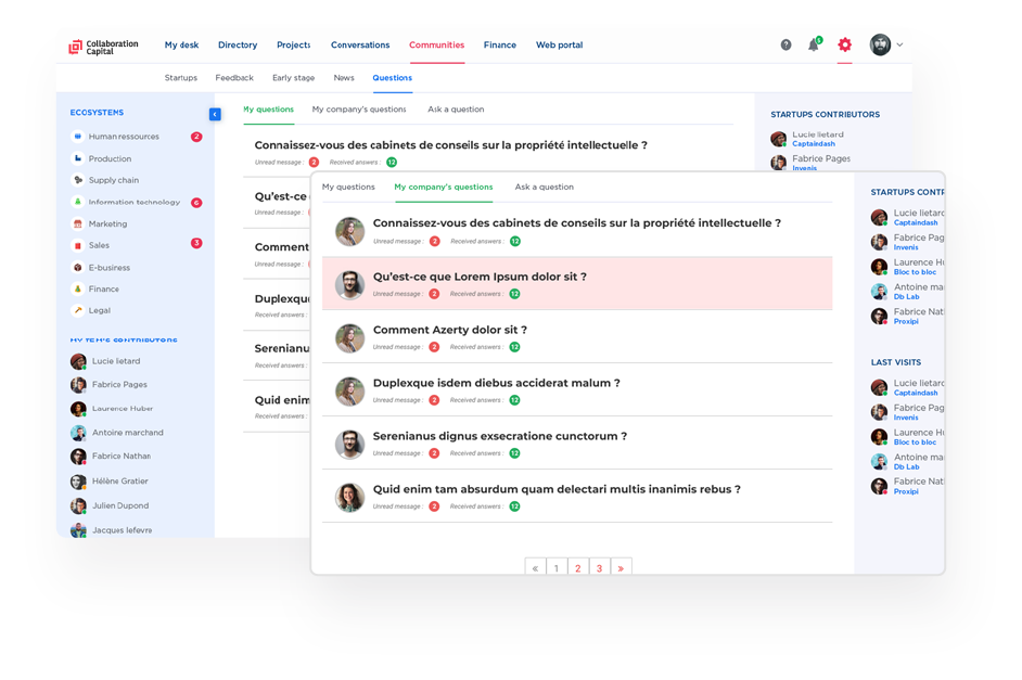 Discussion platform with startups